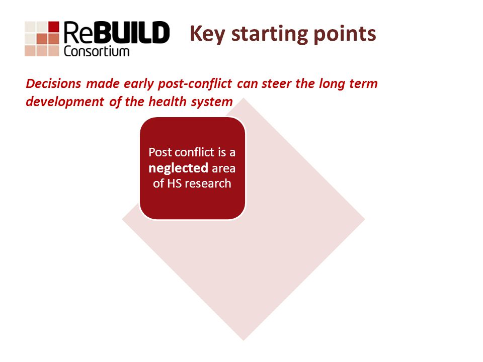 Key starting points Post conflict is a neglected area of HS research Opportunity to set HS in a pro-poor direction Decisions made early post-conflict can steer the long term development of the health system