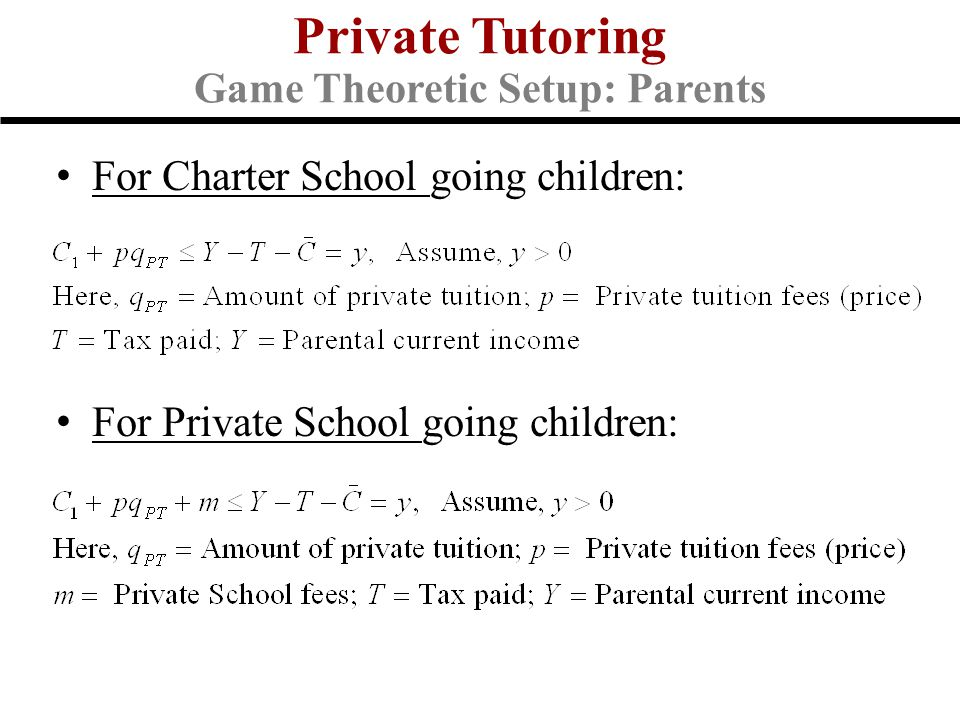 For Charter School going children: For Private School going children: Private Tutoring Game Theoretic Setup: Parents