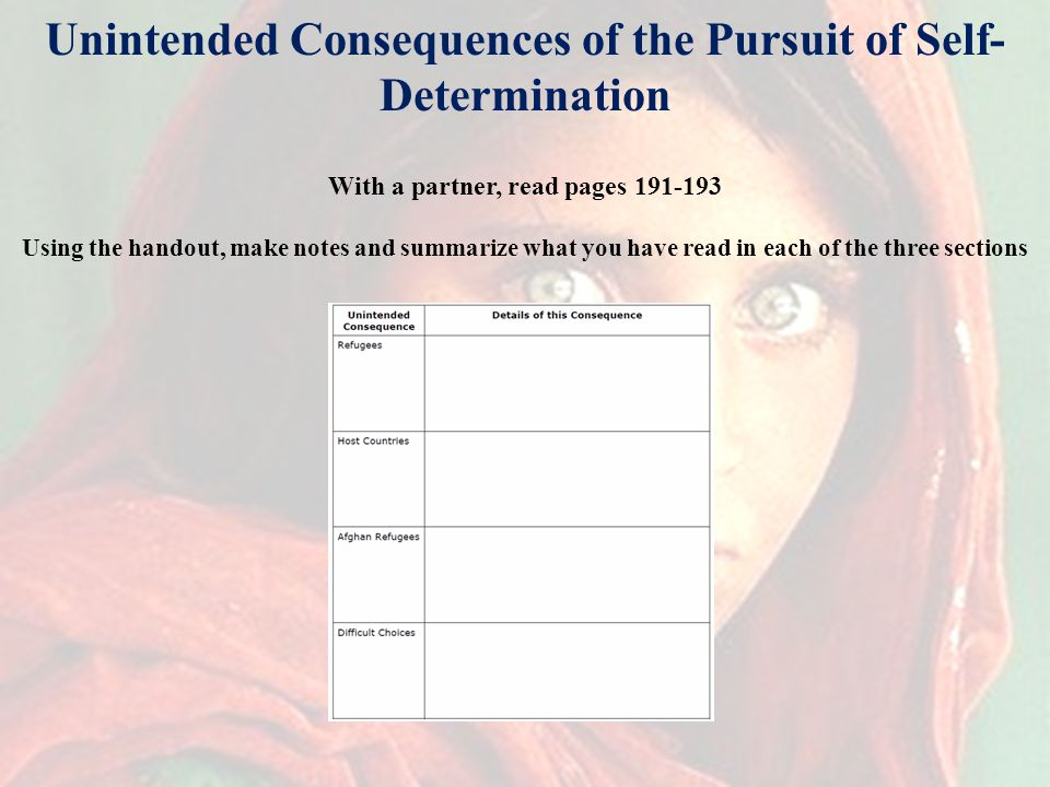 Unintended Consequences of the Pursuit of Self- Determination With a partner, read pages 191-193 Using the handout, make notes and summarize what you