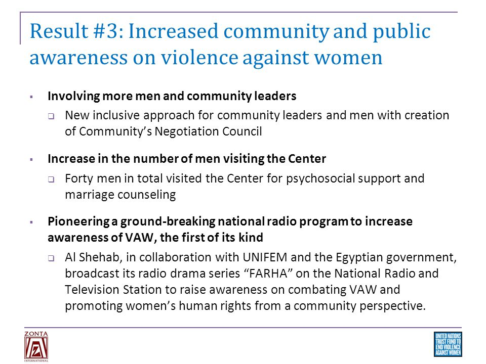 Result #3: Increased community and public awareness on violence against women  Involving more men and community leaders  New inclusive approach for community leaders and men with creation of Community's Negotiation Council  Increase in the number of men visiting the Center  Forty men in total visited the Center for psychosocial support and marriage counseling  Pioneering a ground-breaking national radio program to increase awareness of VAW, the first of its kind  Al Shehab, in collaboration with UNIFEM and the Egyptian government, broadcast its radio drama series FARHA on the National Radio and Television Station to raise awareness on combating VAW and promoting women's human rights from a community perspective.