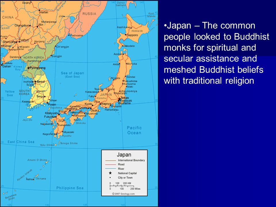 Japan – The common people looked to Buddhist monks for spiritual and secular assistance and meshed Buddhist beliefs with traditional religion