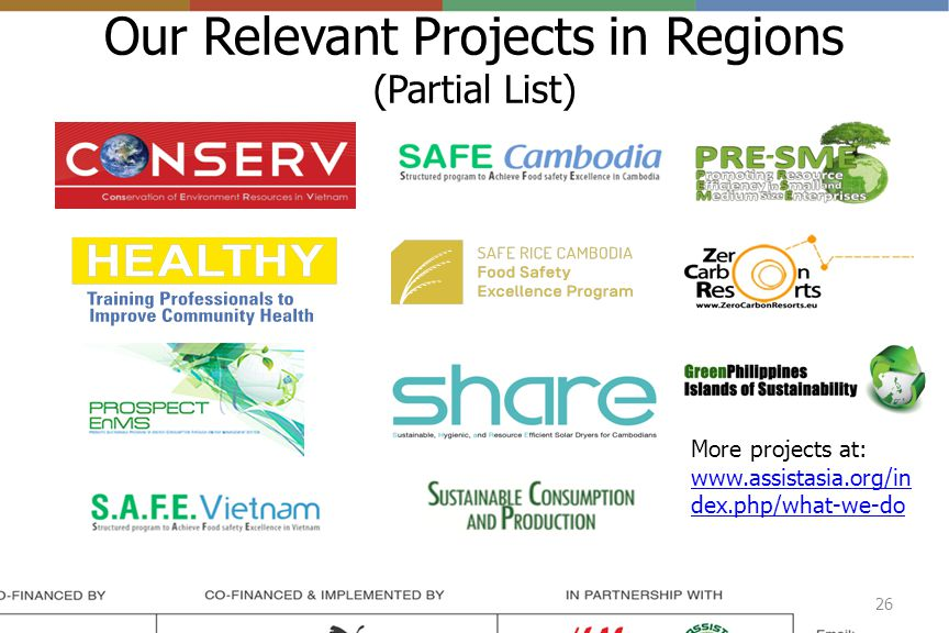 Our Relevant Projects in Regions (Partial List) 26 More projects at: www.assistasia.org/in dex.php/what-we-do
