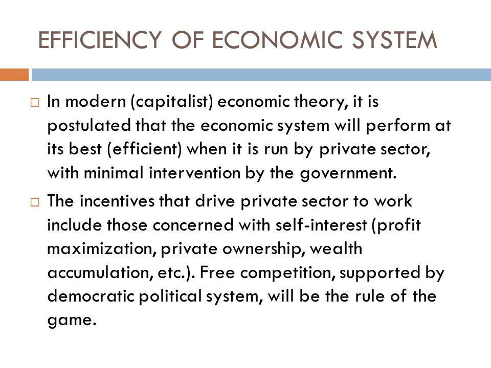 EFFICIENCY OF ECONOMIC SYSTEM  In modern (capitalist) economic theory, it is postulated that the economic system will perform at its best (efficient) when it is run by private sector, with minimal intervention by the government.