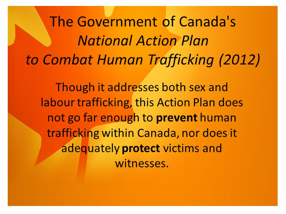 The Government of Canada s National Action Plan to Combat Human Trafficking (2012) Though it addresses both sex and labour trafficking, this Action Plan does not go far enough to prevent human trafficking within Canada, nor does it adequately protect victims and witnesses.