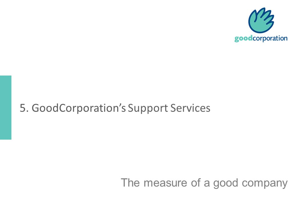 The measure of a good company 5. GoodCorporation's Support Services