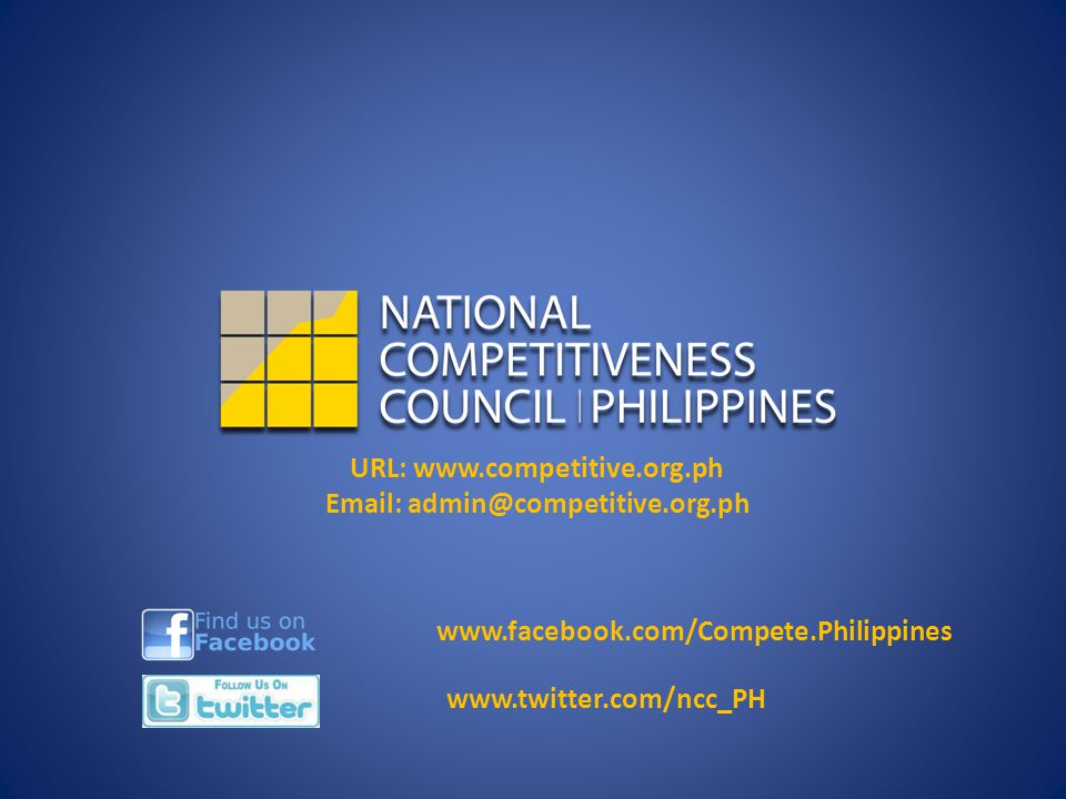 URL: www.competitive.org.ph Email: admin@competitive.org.ph www.facebook.com/Compete.Philippines www.twitter.com/ncc_PH