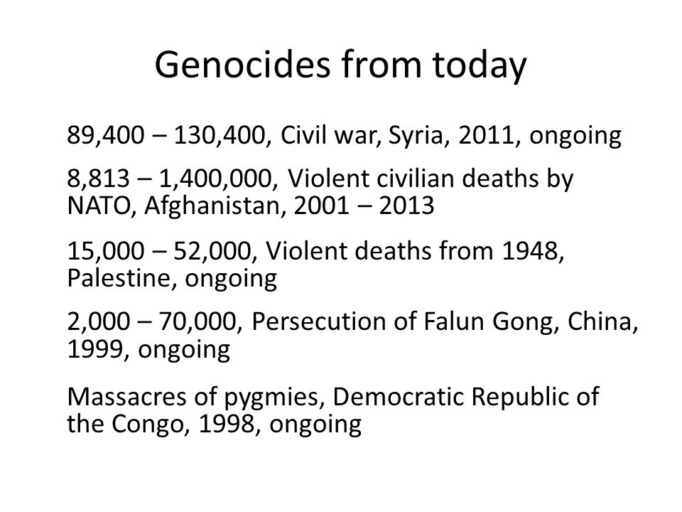Genocides 12,000,000 – 29,000,000 Mass starvation, India, 1876-8, 1890s 1,000,000 Irish Great Famine, Ireland, 1845 – 1852 400,000 – 1,500,000, Circassian genocide, Circassia, 1817 – 1864 480,000 – 600,000, Massacres in Zunghar Khanate, Western Mongolia, Kazakhstan, northern Kyrgyzstan, southern Siberia, 1755 – 1758 80,000, Massacres in Khoshut Khanate, Qinghai and Tibet regions of China, 1723 – 1725