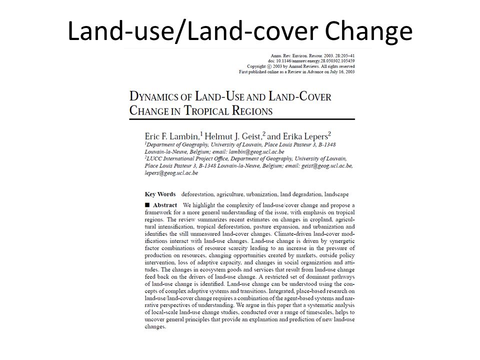 Land Cover Definition (Bio)physical description of the earth s surface.