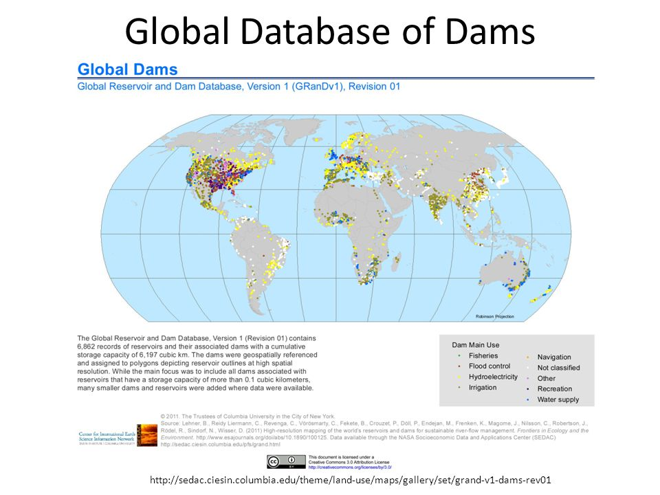 Global Database of Dams http://sedac.ciesin.columbia.edu/theme/land-use/maps/gallery/set/grand-v1-dams-rev01