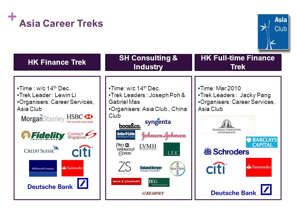 + Asia Career Treks HK Finance Trek SH Consulting & Industry HK Full-time Finance Trek Time : w/c 14 th Dec.