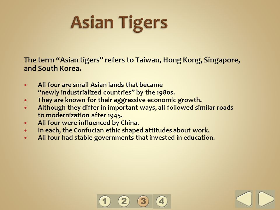 The term Asian tigers refers to Taiwan, Hong Kong, Singapore, and South Korea.