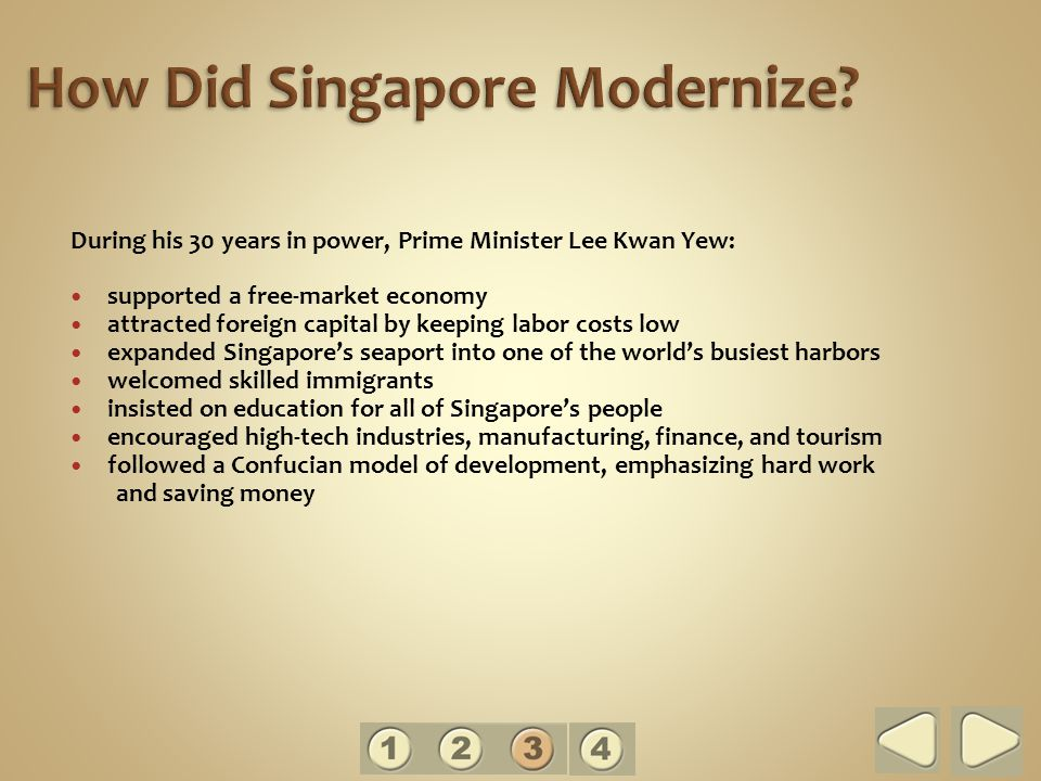 During his 30 years in power, Prime Minister Lee Kwan Yew: supported a free-market economy attracted foreign capital by keeping labor costs low expanded Singapore's seaport into one of the world's busiest harbors welcomed skilled immigrants insisted on education for all of Singapore's people encouraged high-tech industries, manufacturing, finance, and tourism followed a Confucian model of development, emphasizing hard work and saving money