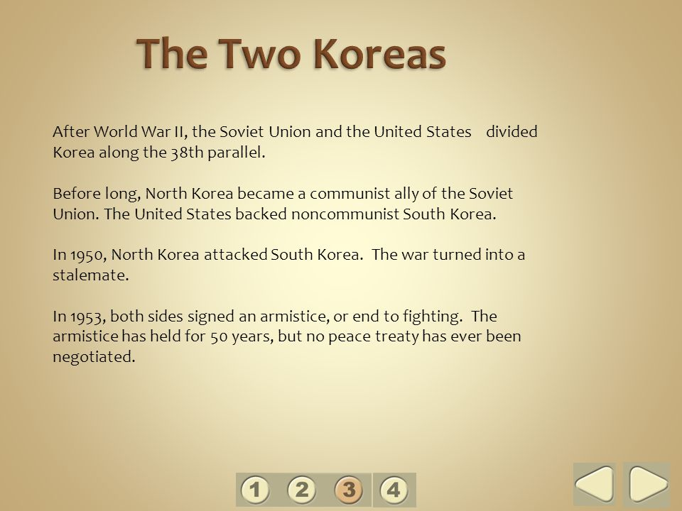 After World War II, the Soviet Union and the United States divided Korea along the 38th parallel.
