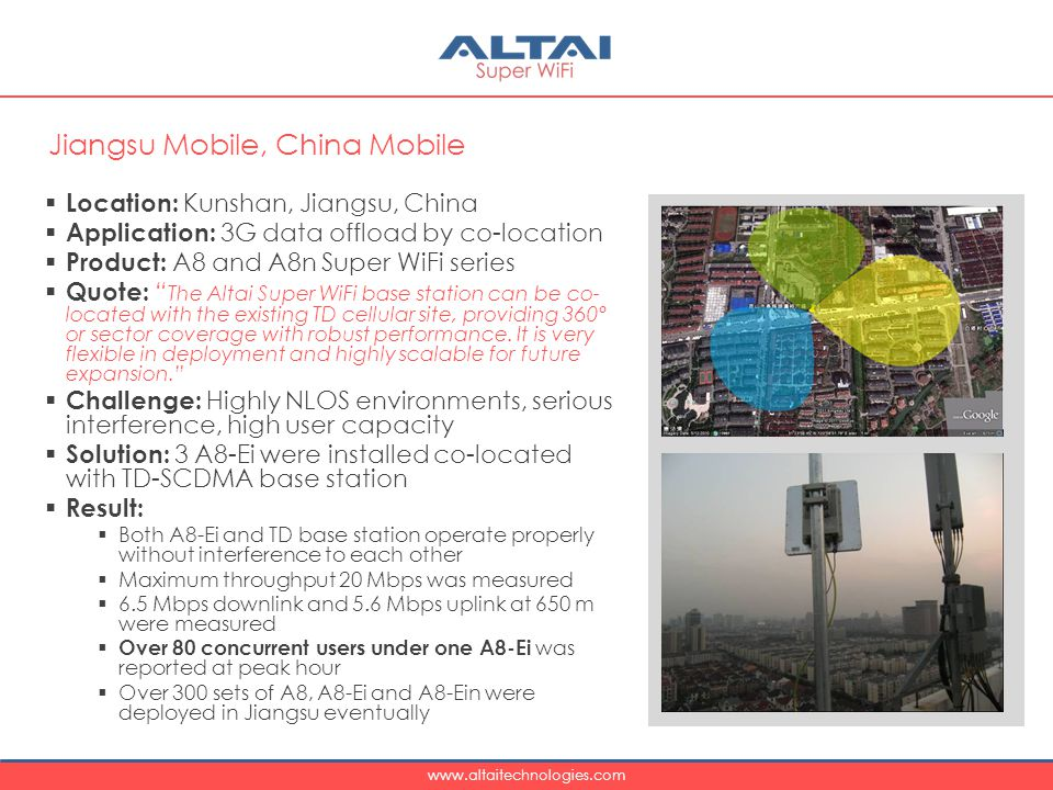 www.altaitechnologies.com  Location: Kunshan, Jiangsu, China  Application: 3G data offload by co-location  Product: A8 and A8n Super WiFi series  Quote: The Altai Super WiFi base station can be co- located with the existing TD cellular site, providing 360º or sector coverage with robust performance.
