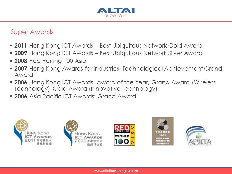 www.altaitechnologies.com  2011 Hong Kong ICT Awards – Best Ubiquitous Network Gold Award  2009 Hong Kong ICT Awards – Best Ubiquitous Network Silver Award  2008 Red Herring 100 Asia  2007 Hong Kong Awards for Industries: Technological Achievement Grand Award  2006 Hong Kong ICT Awards: Award of the Year, Grand Award (Wireless Technology), Gold Award (Innovative Technology)  2006 Asia Pacific ICT Awards: Grand Award Super Awards
