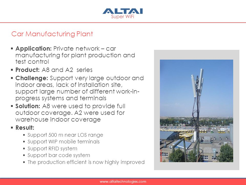 www.altaitechnologies.com  Application: Private network – car manufacturing for plant production and test control  Product: A8 and A2 series  Challenge: Support very large outdoor and indoor areas, lack of installation site, support large number of different work-in- progress systems and terminals  Solution: A8 were used to provide full outdoor coverage.