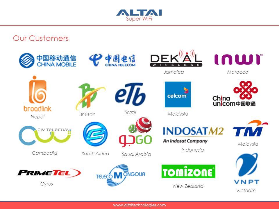 www.altaitechnologies.com Our Customers Jamaica Brazil Bhutan Nepal Morocco Malaysia New Zealand Vietnam Indonesia Saudi Arabia Cambodia Cyrus South Africa