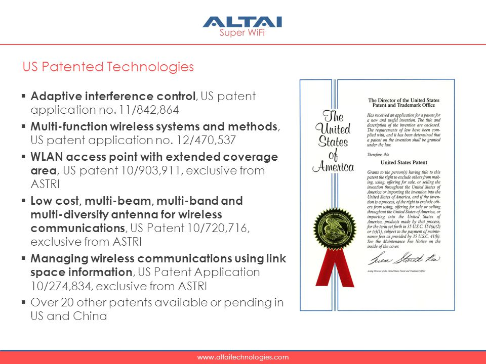 www.altaitechnologies.com  Adaptive interference control, US patent application no.