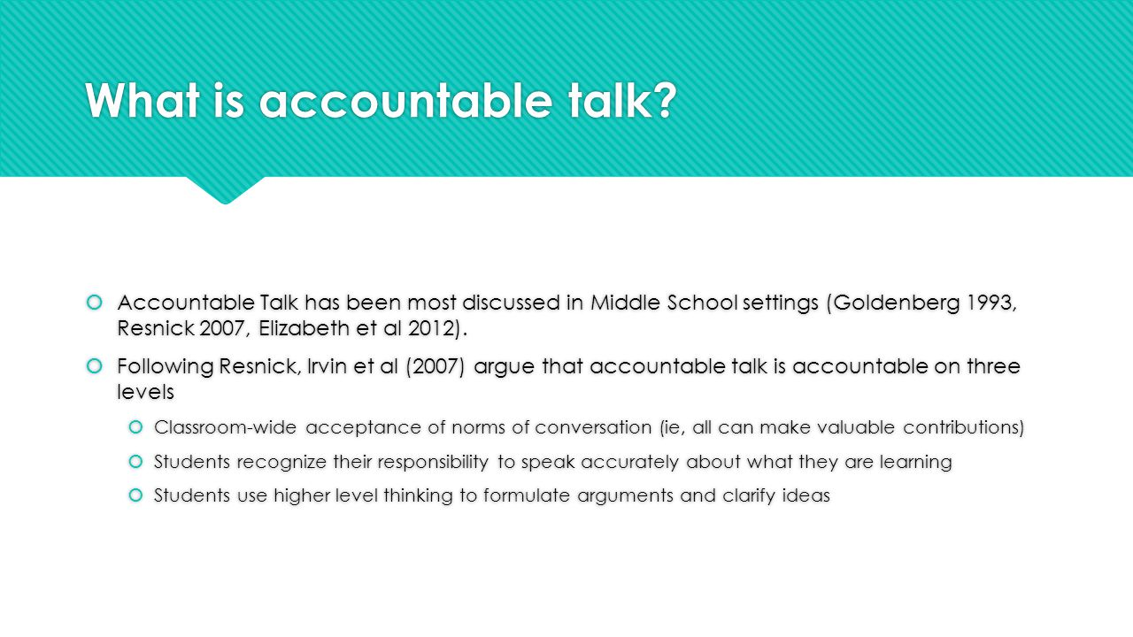 What is accountable talk.