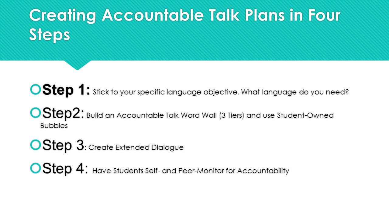 Creating Accountable Talk Plans in Four Steps  Step 1: Stick to your specific language objective.