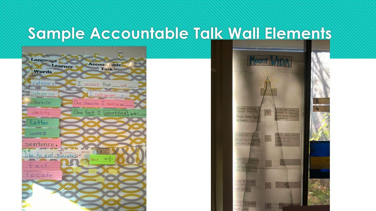 Sample Accountable Talk Wall Elements