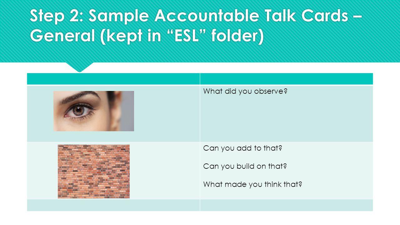Step 2: Sample Accountable Talk Cards – General (kept in ESL folder) What did you observe.