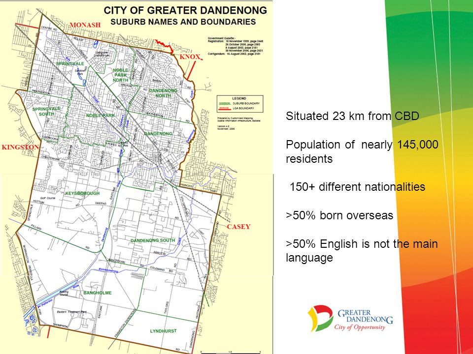 Unique City of Greater Dandenong Most disadvantaged municipality Highest Government IRSED 2012 AEDI high levels of vulnerability 2012-13 almost 2500 birth notices 50% first time mothers 81% women born overseas 13% less than 25 years old At 3 months 52% fully breast feeding, with 39% at 6 months 13% of partners were unemployed
