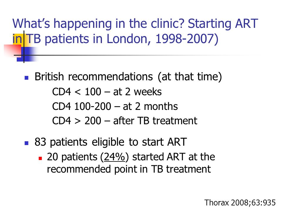 What's happening in the clinic? Starting ART in TB patients in London, 1998-2007) British recommendations (at that time) CD4 < 100 – at 2 weeks CD4 10