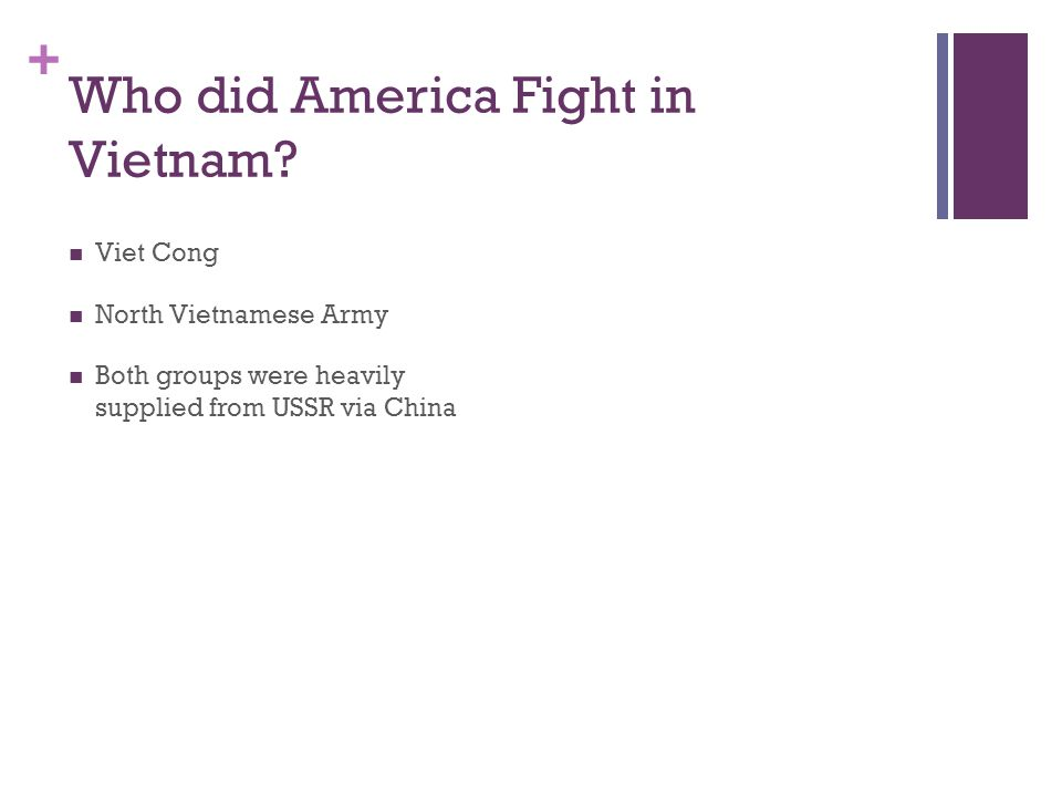 + Who did America Fight in Vietnam? Viet Cong North Vietnamese Army Both groups were heavily supplied from USSR via China