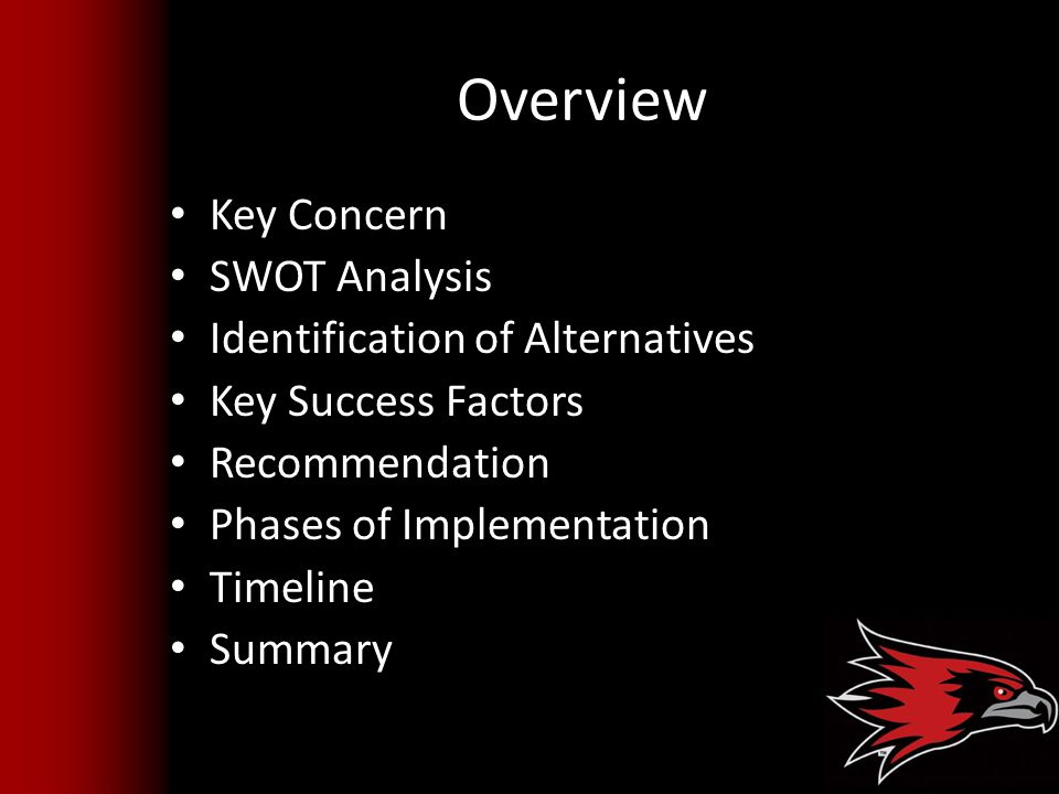 Overview Key Concern SWOT Analysis Identification of Alternatives Key Success Factors Recommendation Phases of Implementation Timeline Summary