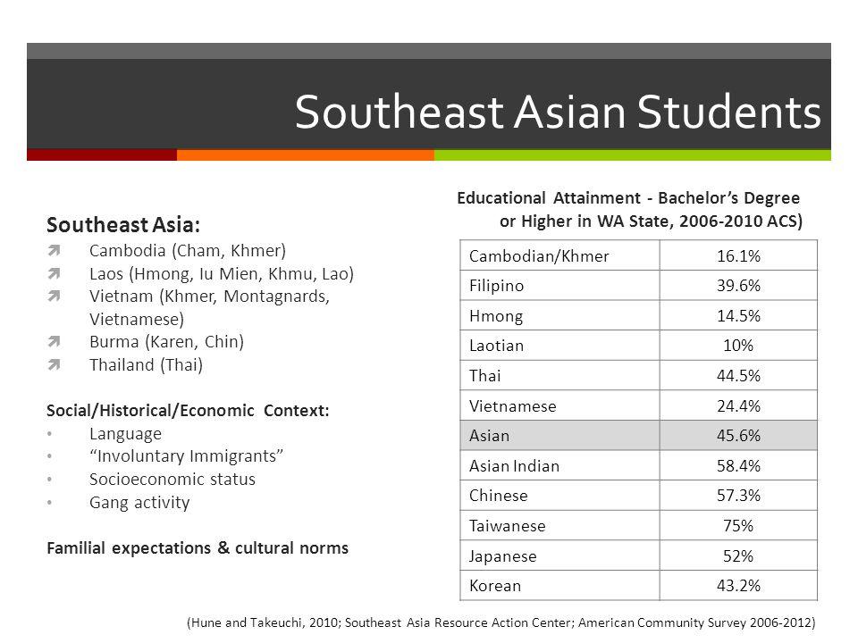 Southeast Asian Students Southeast Asia:  Cambodia (Cham, Khmer)  Laos (Hmong, Iu Mien, Khmu, Lao)  Vietnam (Khmer, Montagnards, Vietnamese)  Burm