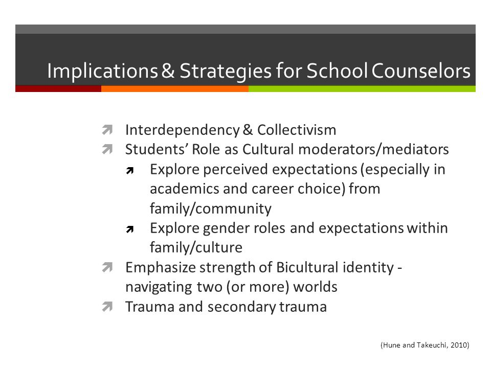 Implications & Strategies for School Counselors  Interdependency & Collectivism  Students' Role as Cultural moderators/mediators  Explore perceived