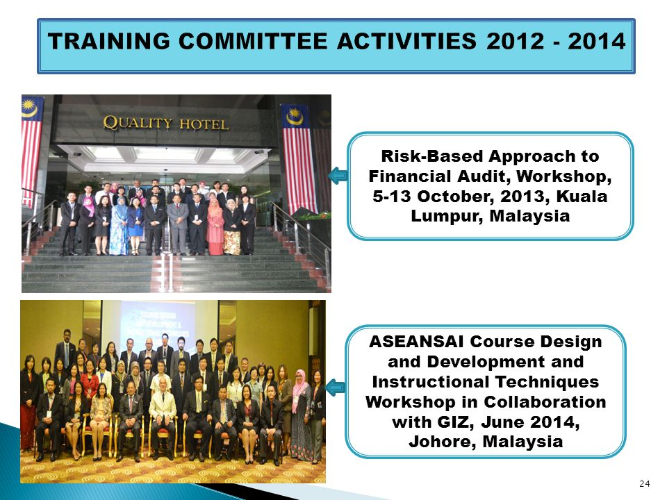 ASEANSAI Course Design and Development and Instructional Techniques Workshop in Collaboration with GIZ, June 2014, Johore, Malaysia 24 Risk-Based Approach to Financial Audit, Workshop, 5-13 October, 2013, Kuala Lumpur, Malaysia