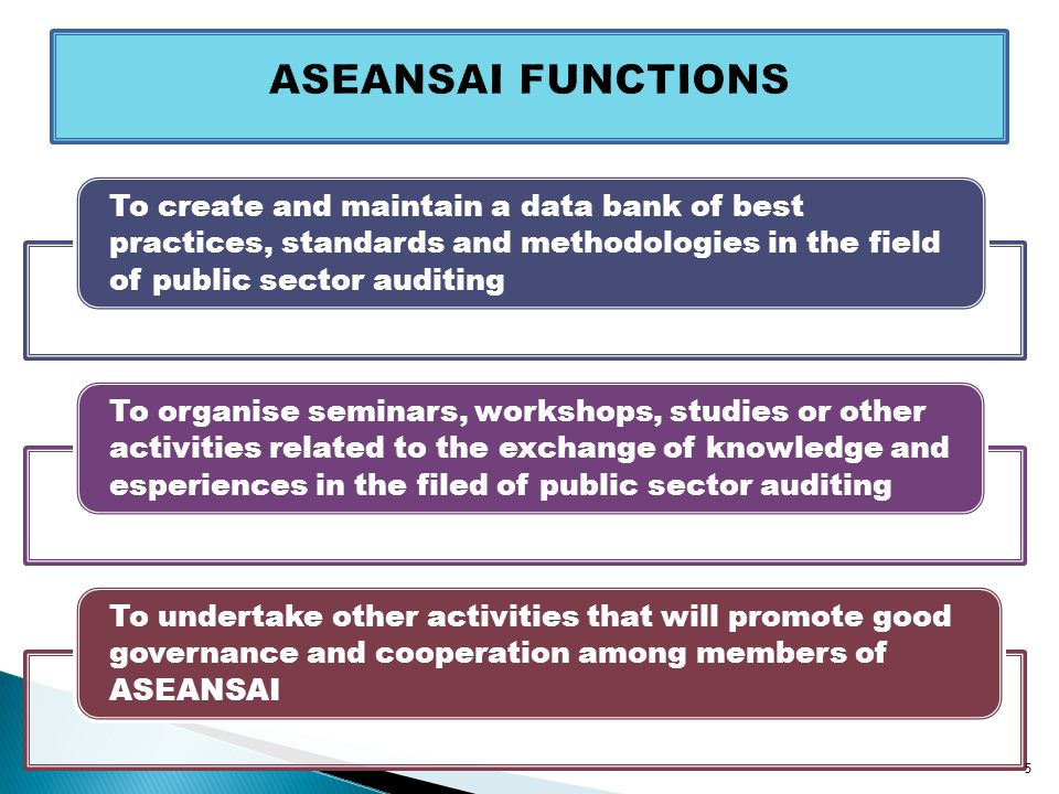 To create and maintain a data bank of best practices, standards and methodologies in the field of public sector auditing To organise seminars, workshops, studies or other activities related to the exchange of knowledge and esperiences in the filed of public sector auditing To undertake other activities that will promote good governance and cooperation among members of ASEANSAI 5