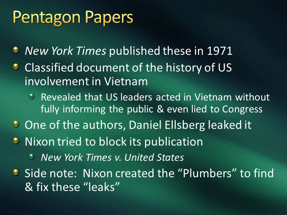 New York Times published these in 1971 Classified document of the history of US involvement in Vietnam Revealed that US leaders acted in Vietnam without fully informing the public & even lied to Congress One of the authors, Daniel Ellsberg leaked it Nixon tried to block its publication New York Times v.