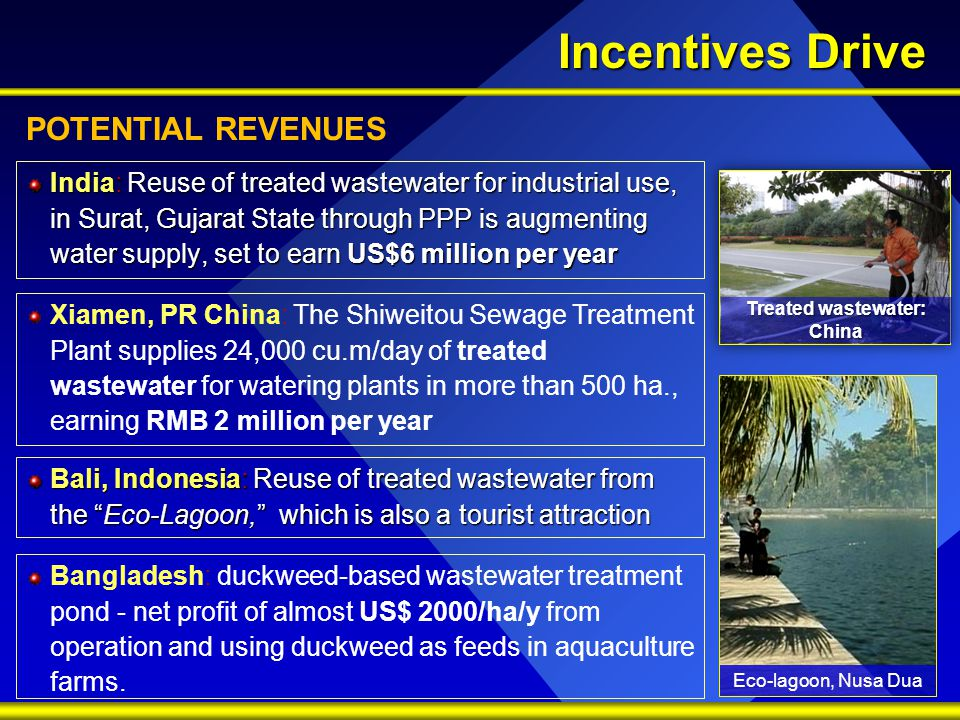Incentives Drive Bali, Indonesia: Reuse of treated wastewater from the Eco-Lagoon, which is also a tourist attraction India: Reuse of treated wastewater for industrial use, in Surat, Gujarat State through PPP is augmenting water supply, set to earn US$6 million per year Xiamen, PR China: The Shiweitou Sewage Treatment Plant supplies 24,000 cu.m/day of treated wastewater for watering plants in more than 500 ha., earning RMB 2 million per year Bangladesh: duckweed-based wastewater treatment pond - net profit of almost US$ 2000/ha/y from operation and using duckweed as feeds in aquaculture farms.