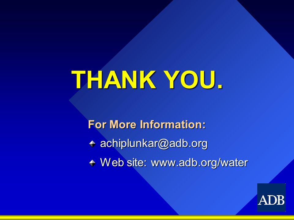 THANK YOU. For More Information: achiplunkar@adb.org Web site: www.adb.org/water