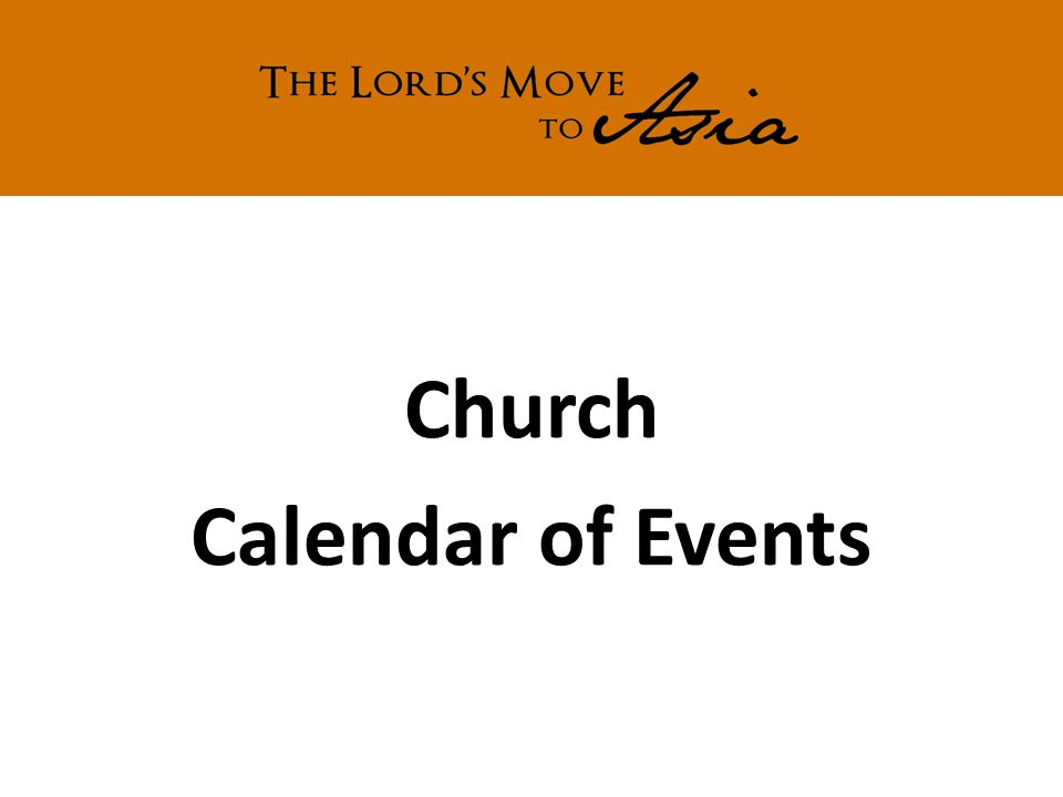 Church Calendar of Events