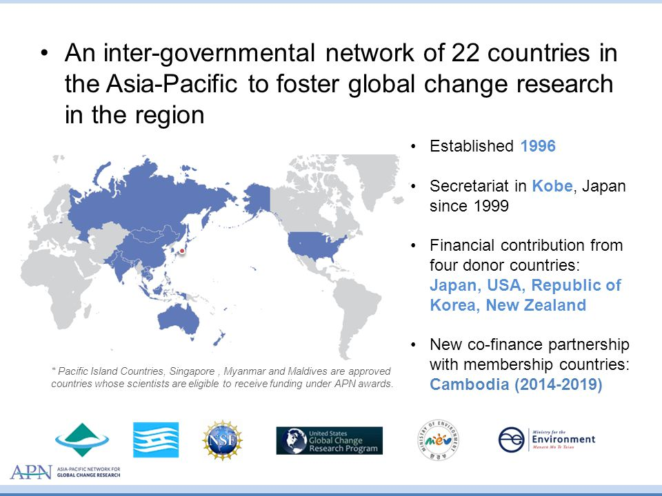 APN Goals Supporting regional cooperation in global change research Strengthening appropriate interactions among scientists and policymakers, Improving the scientific and technical capabilities of nations in the region Cooperating with global change networks and organisations in the community