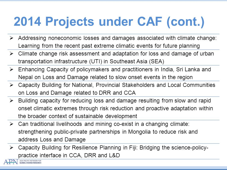 2014 Projects under CAF (cont.)  Addressing noneconomic losses and damages associated with climate change: Learning from the recent past extreme clim