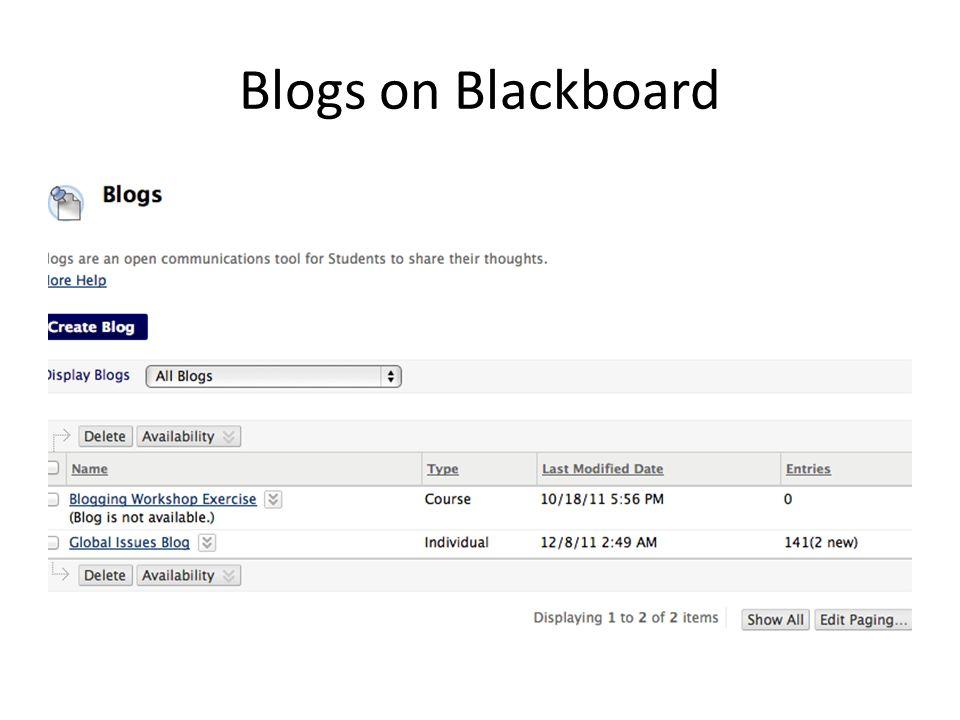 Blogs on Blackboard