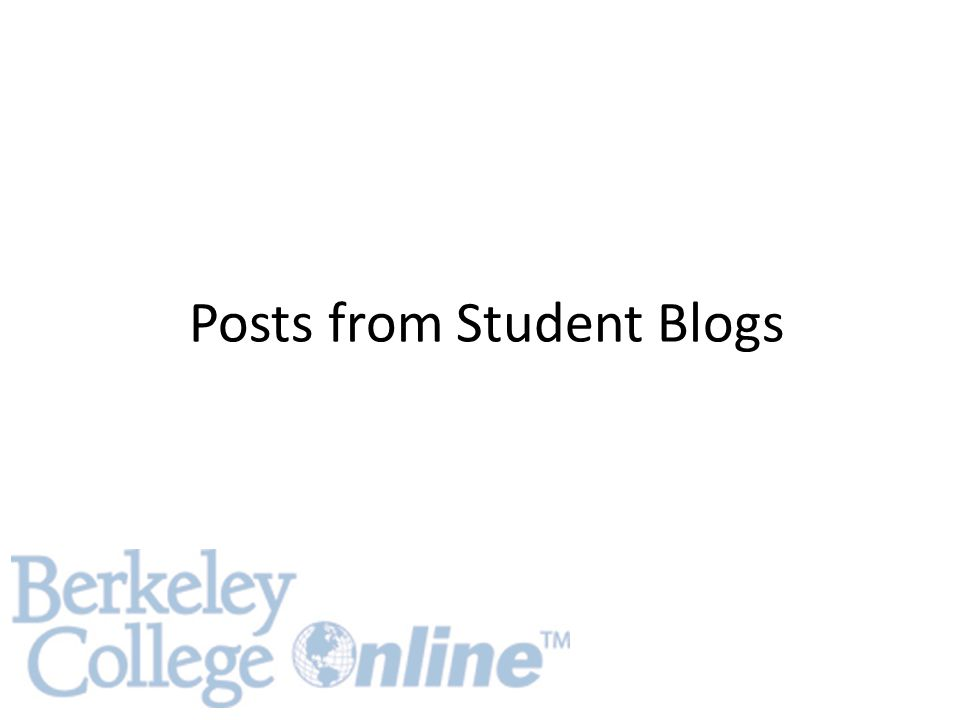 Posts from Student Blogs