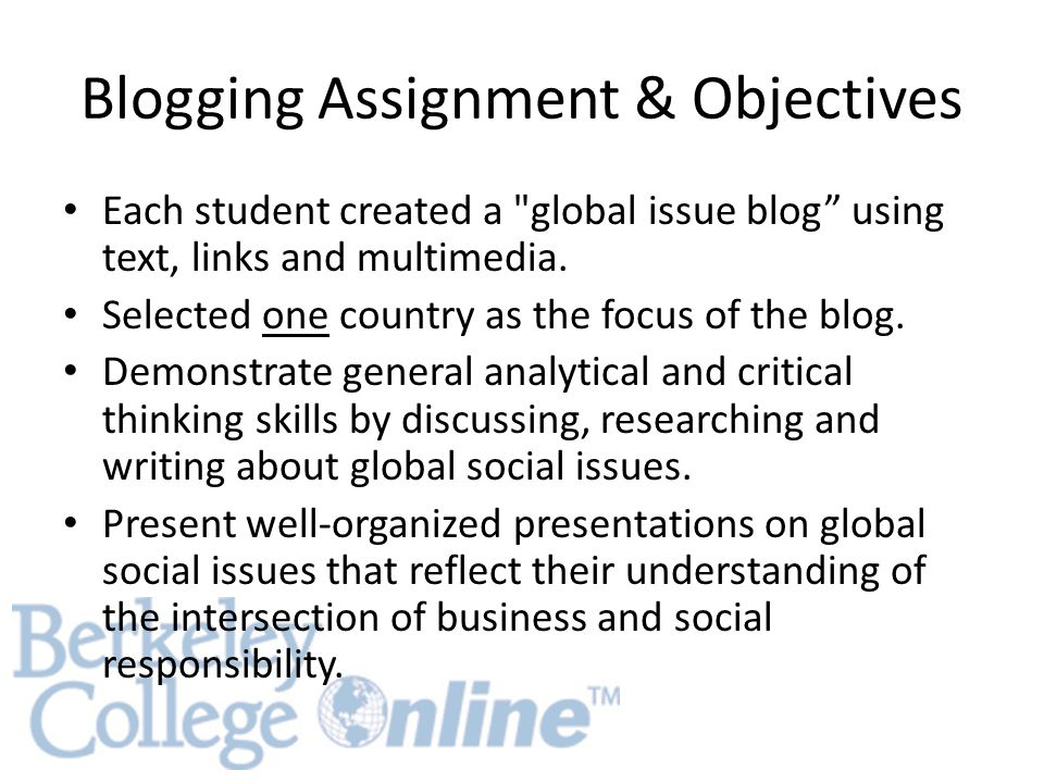 Blogging Assignment & Objectives Each student created a global issue blog using text, links and multimedia.