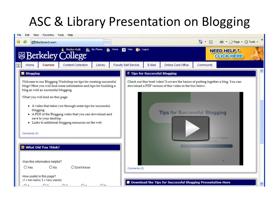 ASC & Library Presentation on Blogging