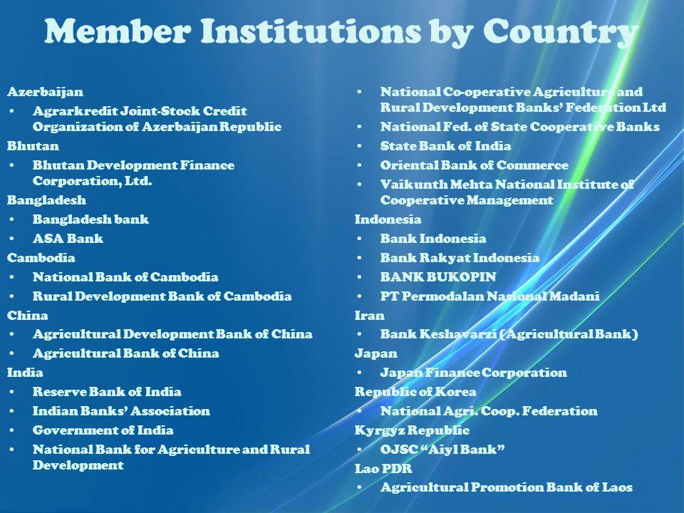 Member Institutions by Country Azerbaijan Agrarkredit Joint-Stock Credit Organization of Azerbaijan Republic Bhutan Bhutan Development Finance Corporation, Ltd.