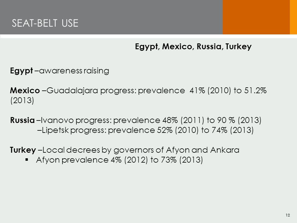 12 SEAT-BELT USE Egypt, Mexico, Russia, Turkey Egypt –awareness raising Mexico –Guadalajara progress: prevalence 41% (2010) to 51.2% (2013) Russia –Iv