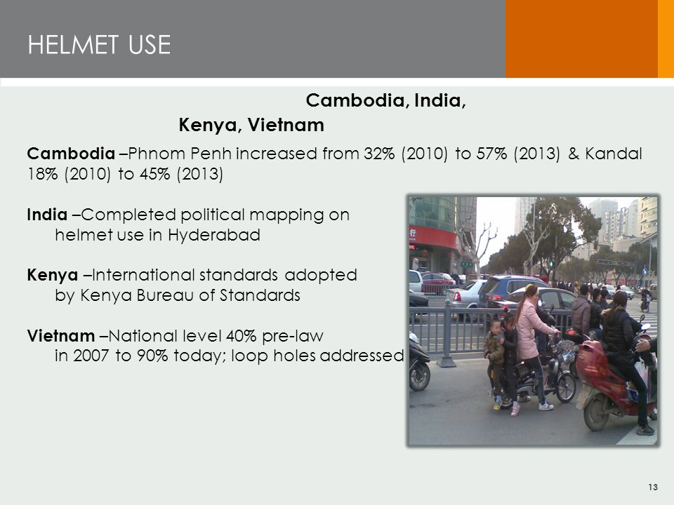 HELMET USE Cambodia, India, Kenya, Vietnam Cambodia –Phnom Penh increased from 32% (2010) to 57% (2013) & Kandal 18% (2010) to 45% (2013) India –Completed political mapping on helmet use in Hyderabad Kenya –International standards adopted by Kenya Bureau of Standards Vietnam –National level 40% pre-law in 2007 to 90% today; loop holes addressed 13