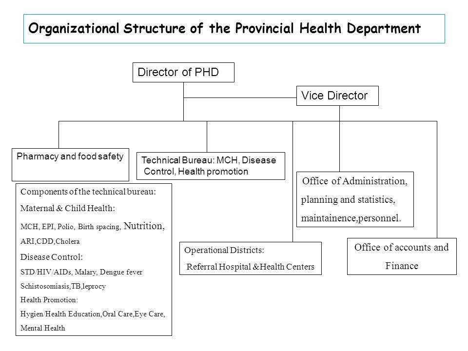 Organizational Structure of the Provincial Health Department Director of PHD Vice Director Pharmacy and food safety Technical Bureau: MCH, Disease Control, Health promotion Operational Districts: Referral Hospital &Health Centers Office of accounts and Finance Office of Administration, planning and statistics, maintainence,personnel.