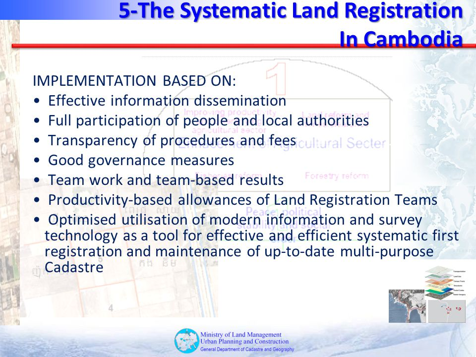 IMPLEMENTATION BASED ON: Effective information dissemination Full participation of people and local authorities Transparency of procedures and fees Go