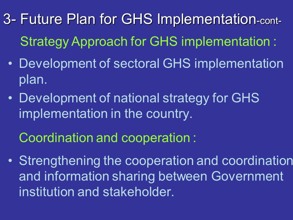 3- Future Plan for GHS Implementation -cont- Development of sectoral GHS implementation plan. Development of national strategy for GHS implementation
